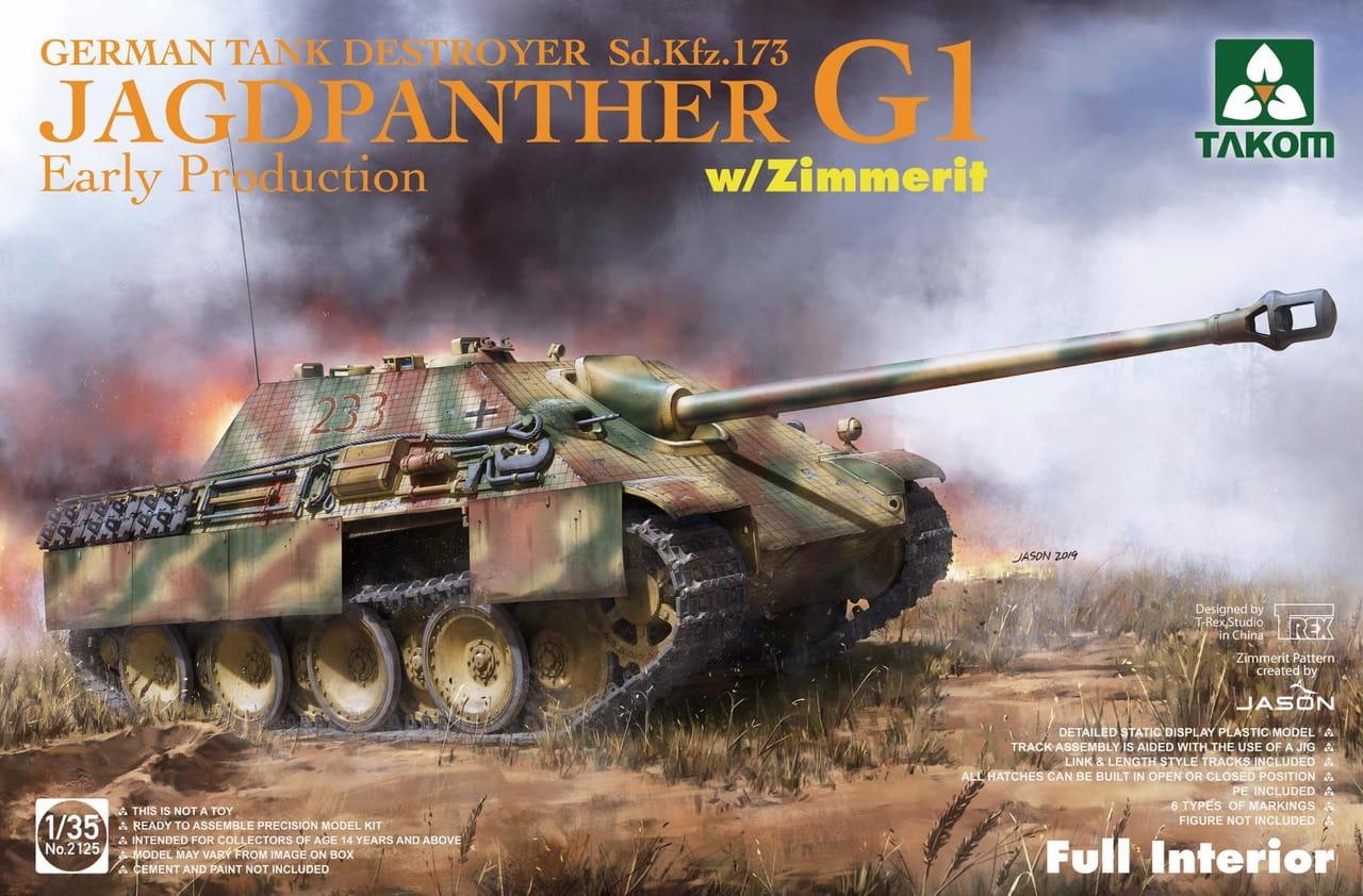Takom 1/35 Jagdpanther G1 early production German Tank Destroyer Sd.Kfz.173 w/ Zimmerit / full interior kit