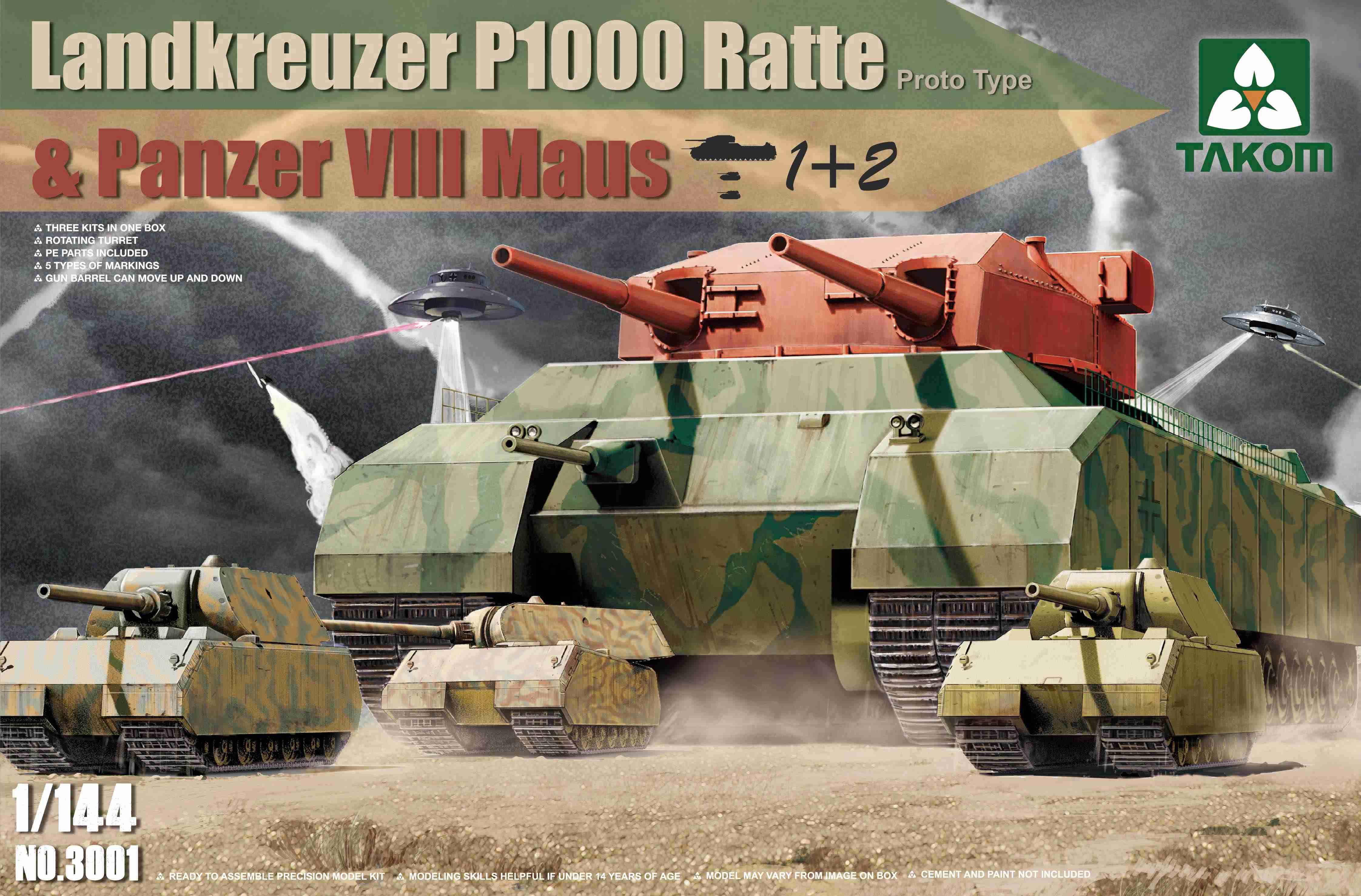 Takom 1/144 WWII Heavy Battle Tank Landkreuzer P1000 Ratte(Prototype) & Panzer VIII Maus 3in1