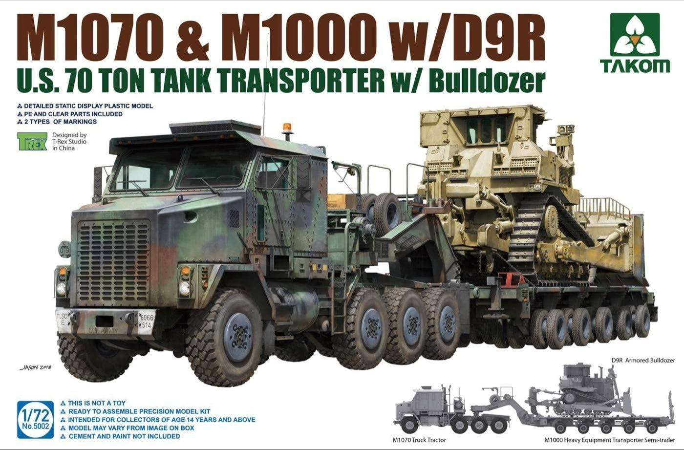 Takom 1/72 U.S. M1070&M1000 w/D9R, 70 Ton Tank Transporter w/Bulldozer