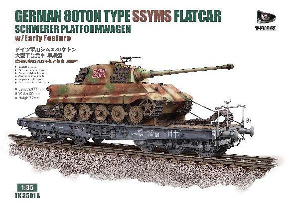T-Model 1/35 German 80-ton Type SSYMS Flatcar (Schwerer Platformwagen) with Early Feature