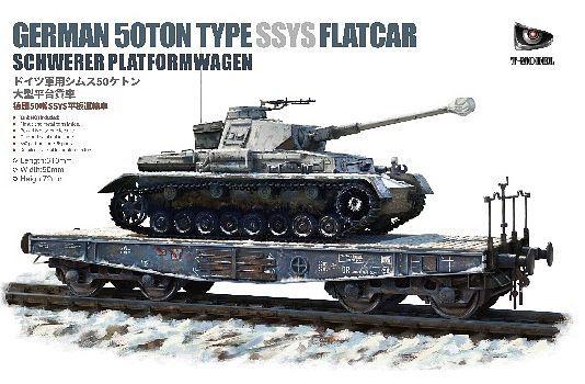 T-Model 1/35 German 50-ton Type SSys K?ln Flatcar Schwerer Platformwagen (Tank Not Included)