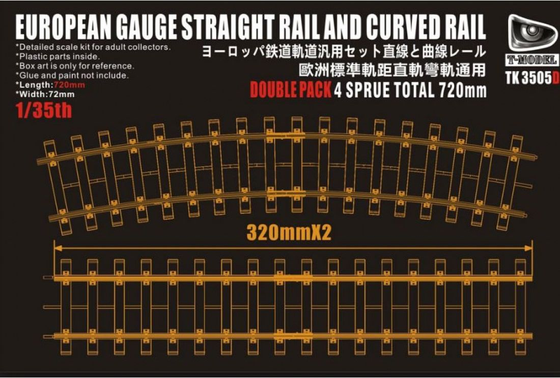 T-Model (Tiger Models) 720mm European Gauge Straight Rail & Curved Rail