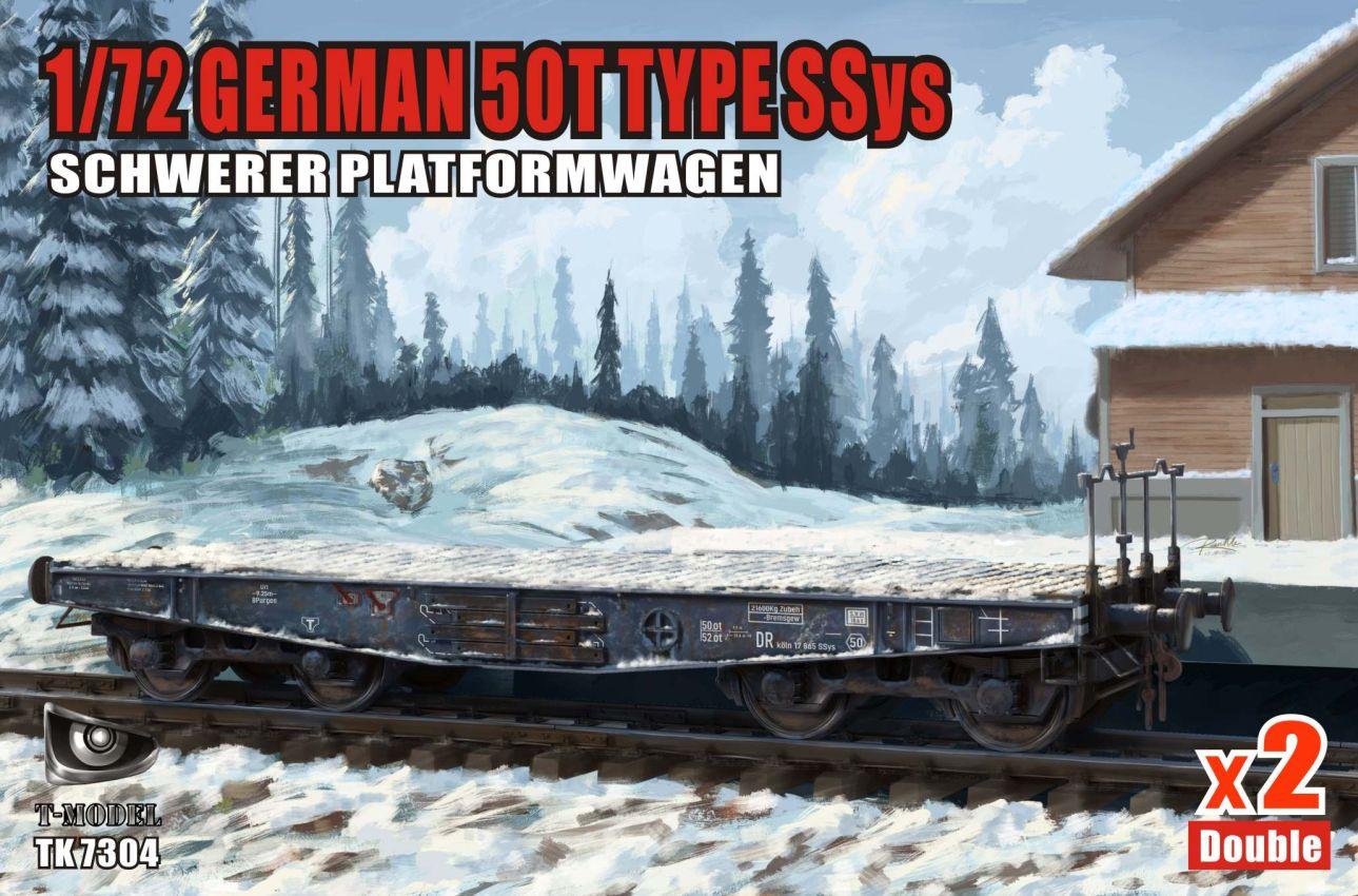 T-Model (Tiger Models) 1/72 German 50T Type Ssys Schwerer platormwagen x2 Double Iron Oak Leaf ver.