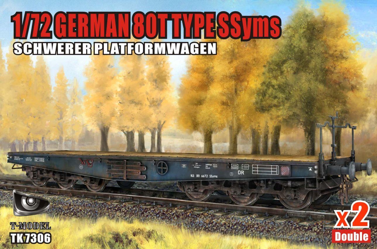 T-Model (Tiger Models) 1/72 German 80T Type SSyms Schwerer platformwagen x2 Double Iron Oak Leaf ver.