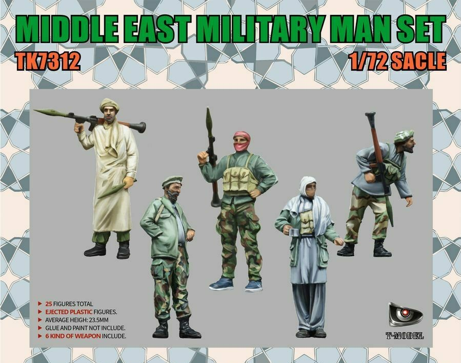 T-Model 1/72 Middle East Military Men Set with Weapons