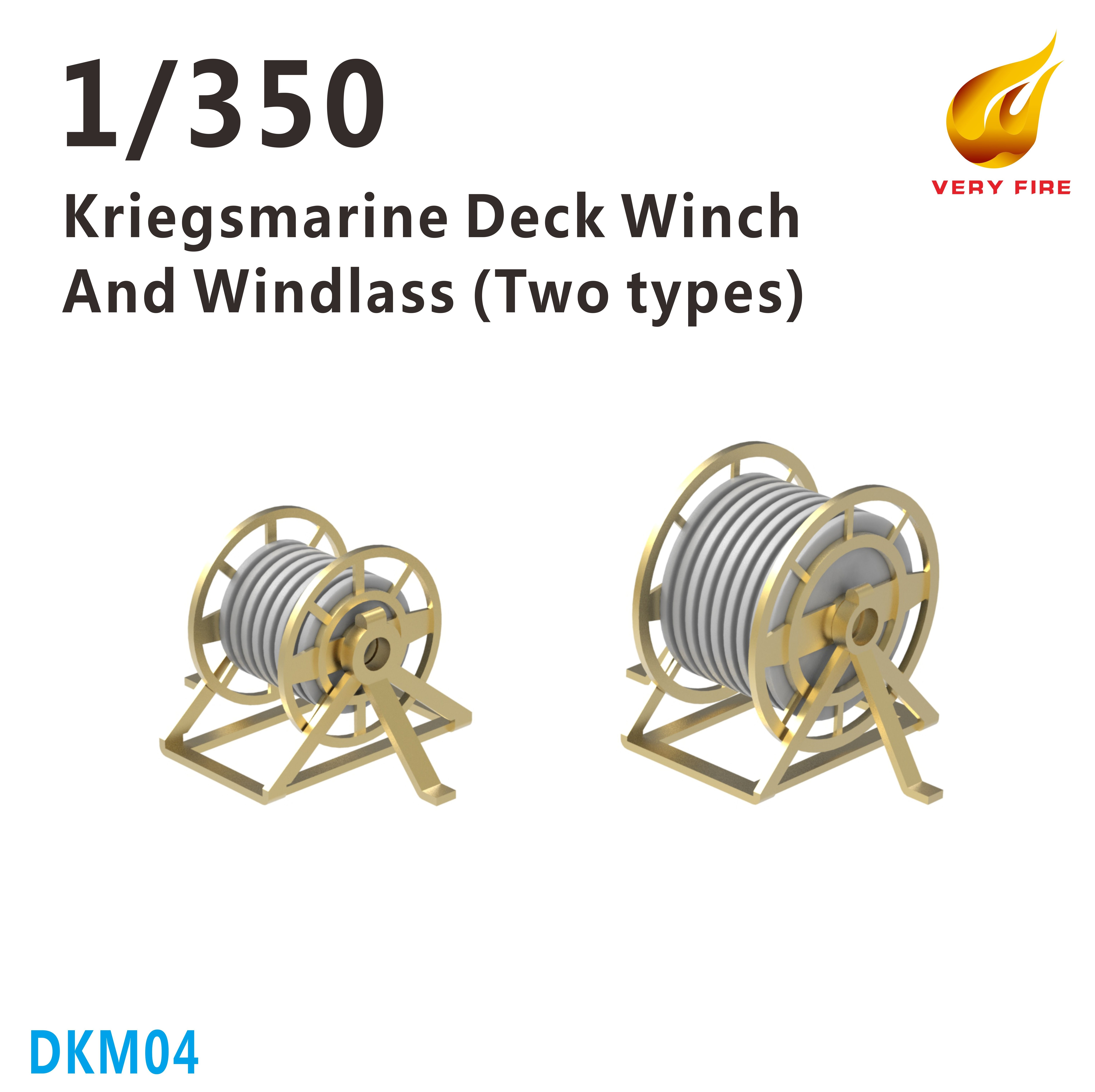 Very Fire 1/350 DKM Kriegsmarine Deck Winch and Windlass (2 Types, 22 Sets)