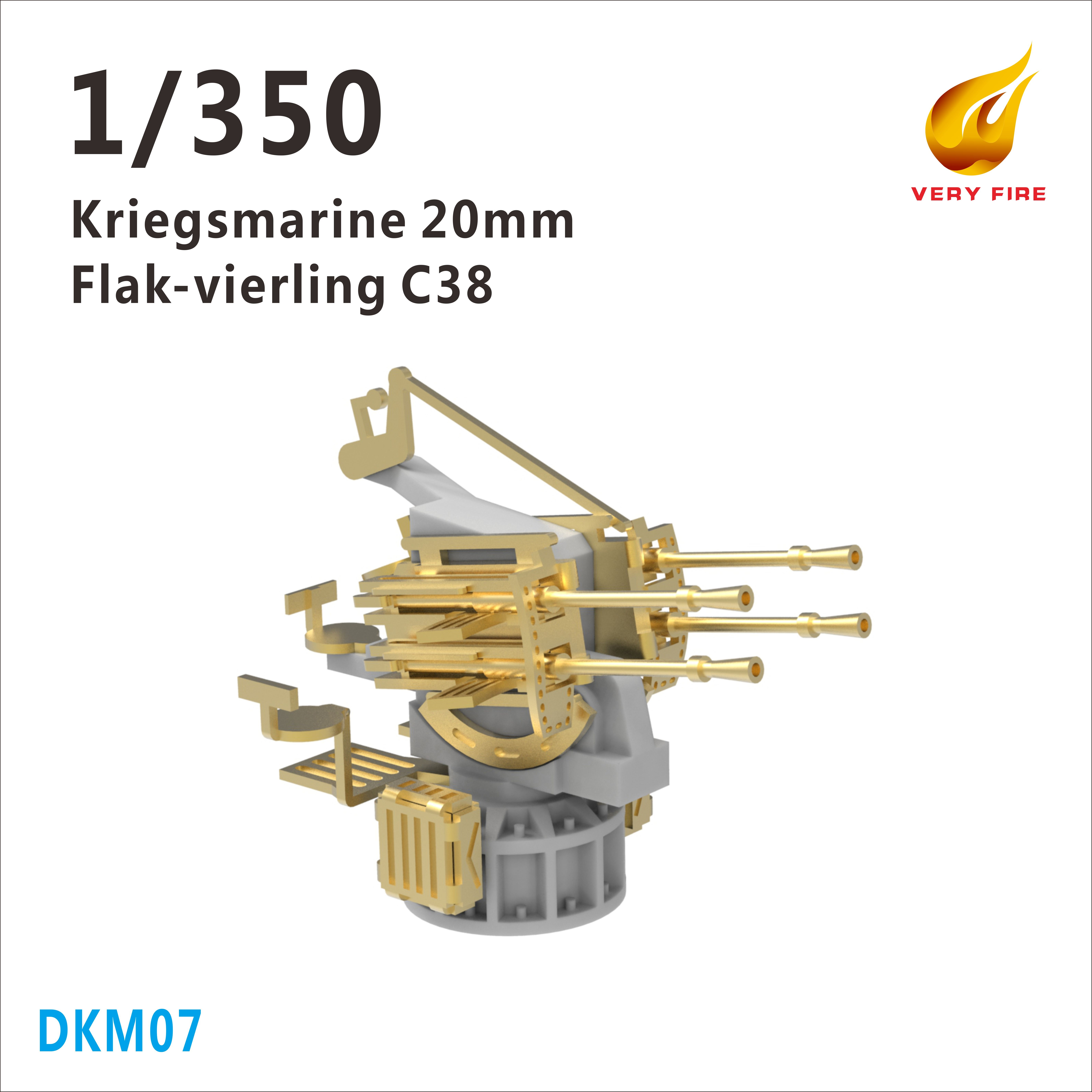 Very Fire 1/350 DKM Kriegsmarine 20mm Flakvierling C38 AA Guns (4 Sets)