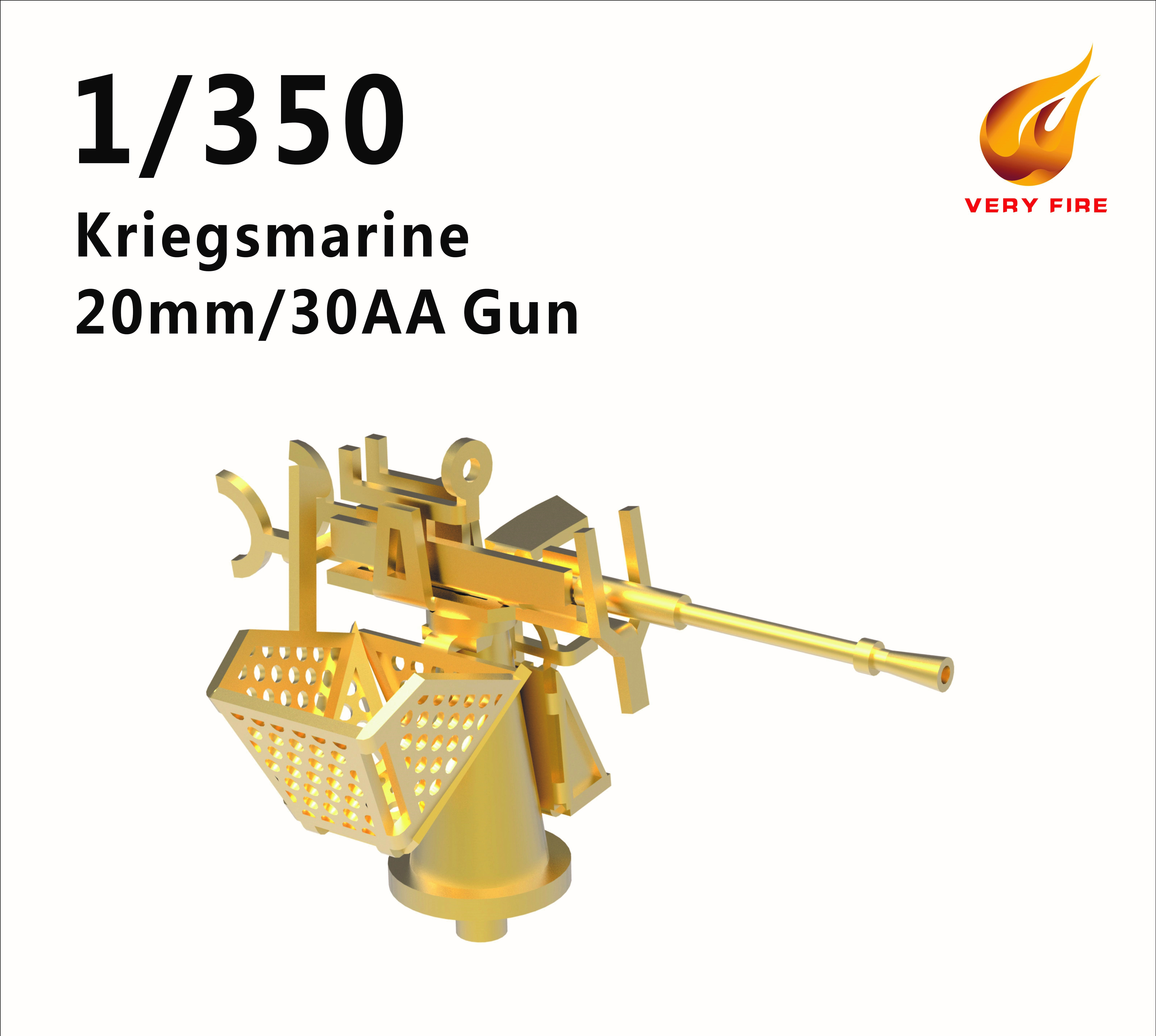 Very Fire 1/350 DKM Kriegsmarine 20mm/30 AA Guns (16 Sets)