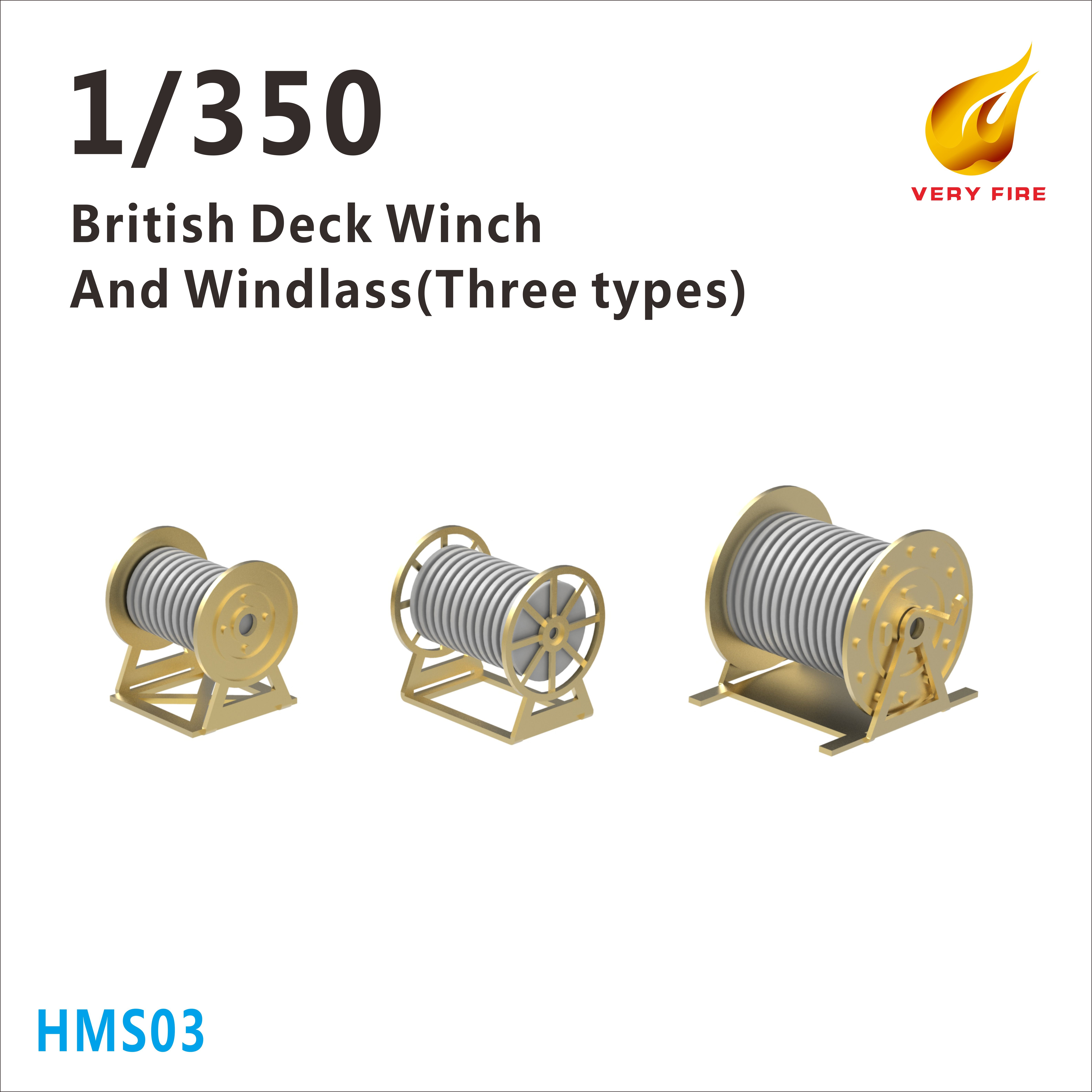Very Fire 1/350 HMS British Deck Winch and Windlass (3 Types, 23 Sets)