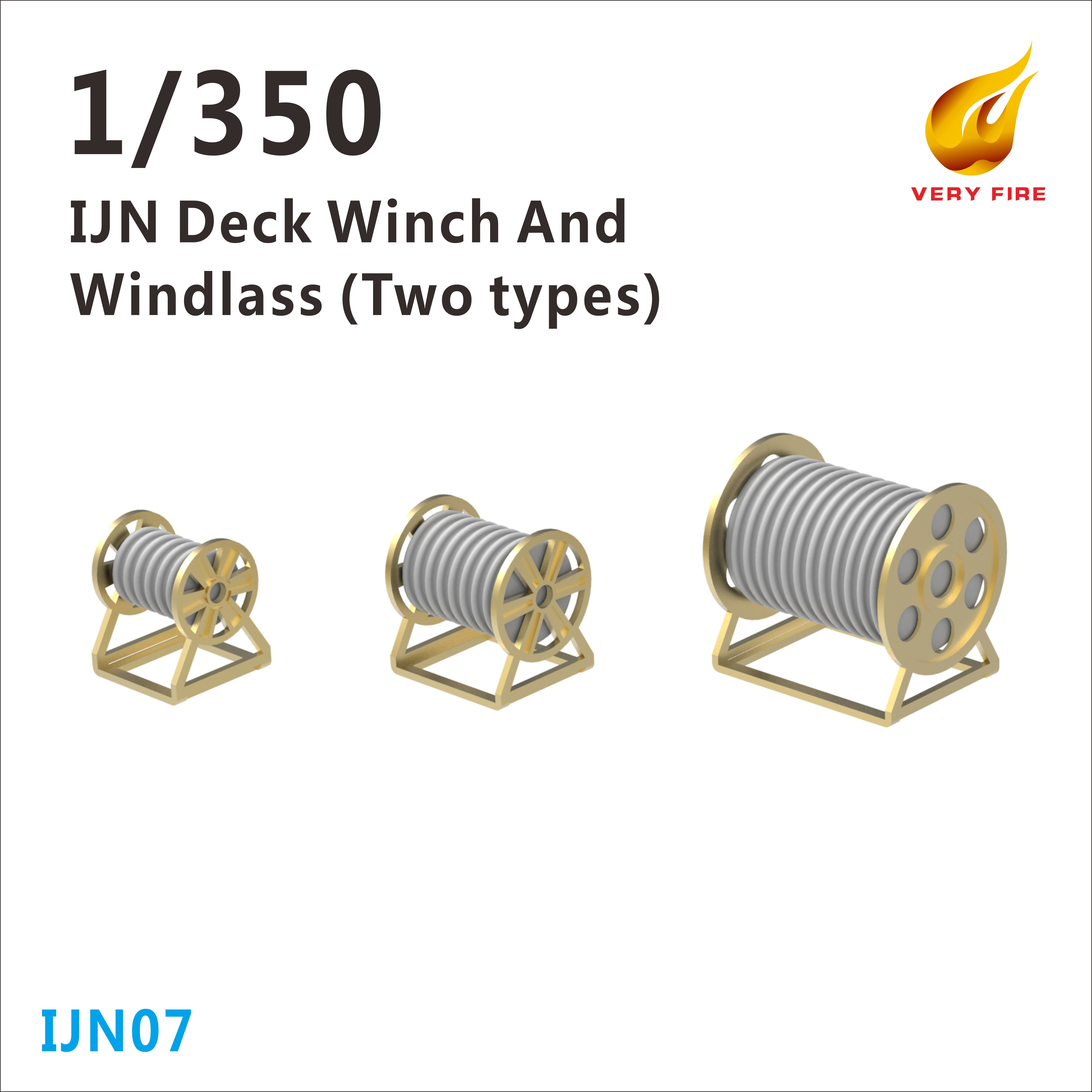 Very Fire 1/350 IJN Deck Winch and Windlass (3 Types, 30 Sets)