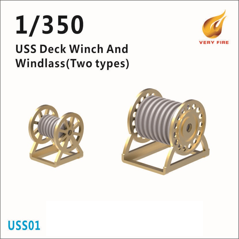 Very Fire 1/350 USS Deck Winch and Windlass (2 Types, 30 Sets)