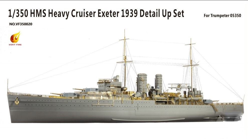 Very Fire 1/350 HMS Heavy Cruiser Exeter 1939 Detail Up Set (For Trumpeter 05350)