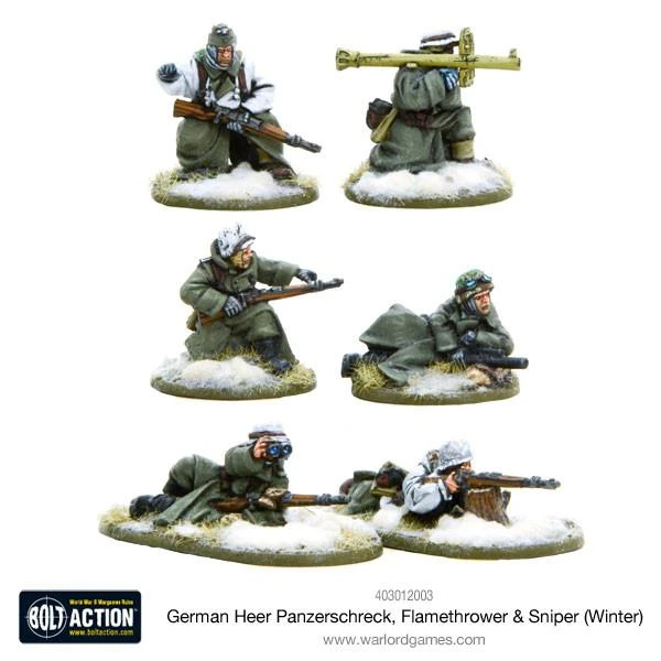 Bolt Action German Heer Panzerschreck, Flamethrower & Sniper teams (Winter)