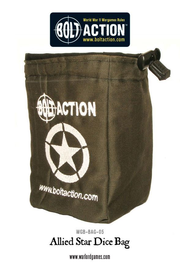 Bolt Action Allied Star Dice Bag & Order Dice (Gre...