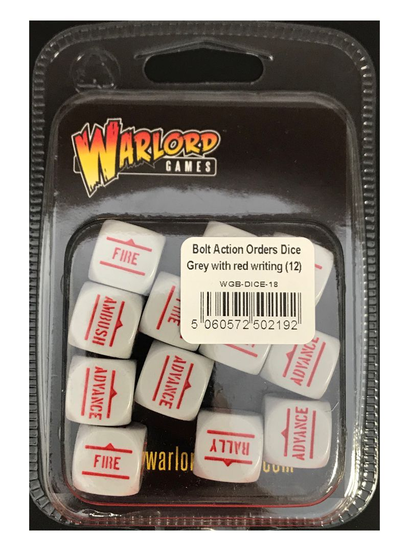 Bolt Action Orders Dice - Grey with Red Writing (12)