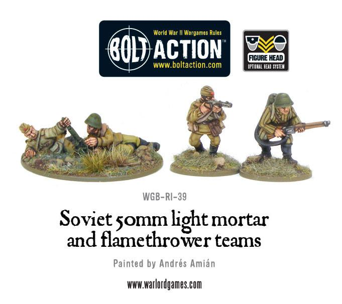 Bolt Action Soviet Army 50mm light mortar and Flamethrower tea...