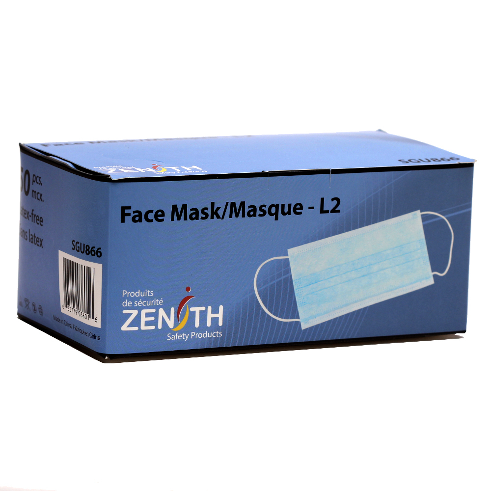 Zenith Disposable Latex-Free Procedural Face Masks, 50 Count