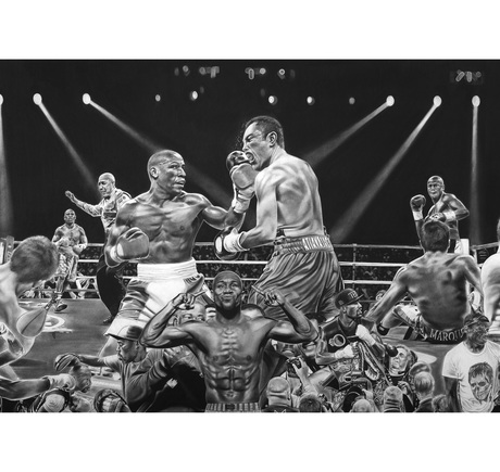 """Detail of """"Floyd Mayweather: TBE"""" by Dave Hobrecht"""