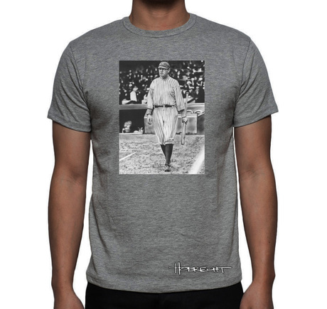 Babe Ruth On Deck T-Shirt Gray
