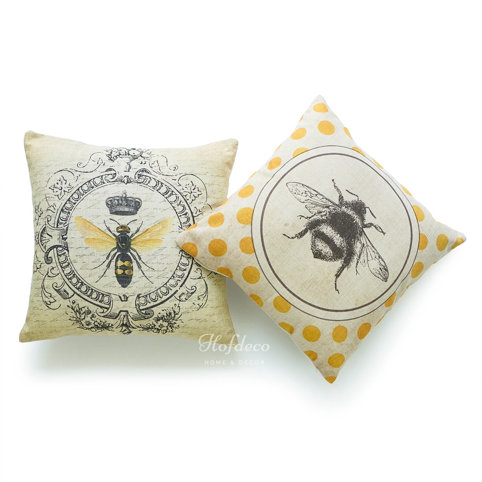 Modern Vintage French Queen Bee Yellow Throw Pillow Case