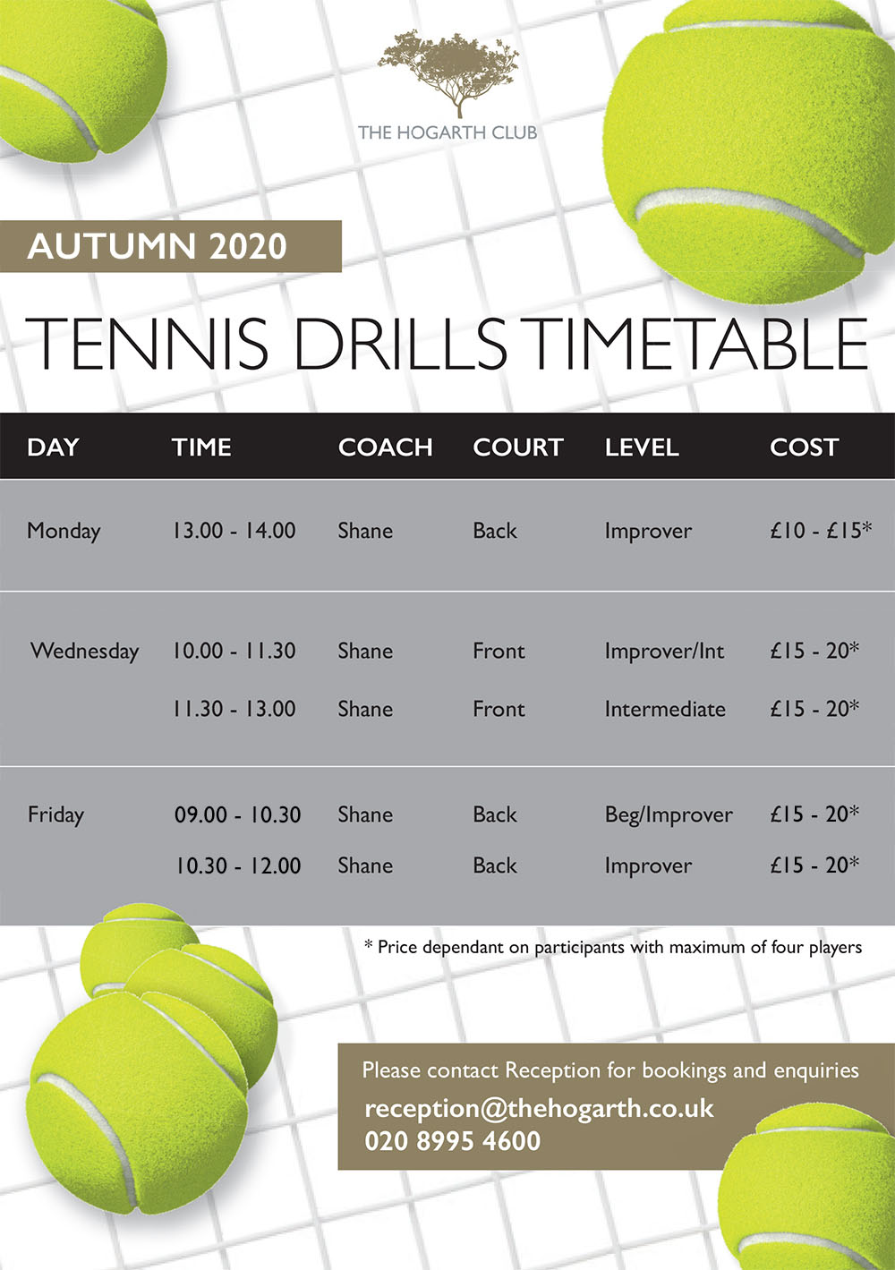 tennis drills timetable 2020 hogarth