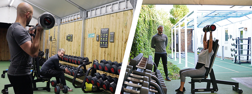 the Hogarth outdoor gym weights area