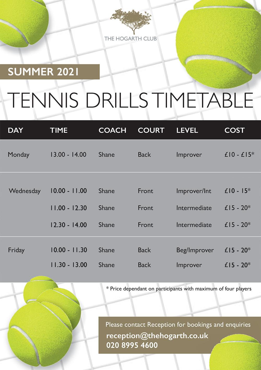 Hogarth club summer tennis drills timetable
