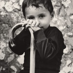 A Boy from village Yolievo, with the walking stick of his Grandfather, Kolio, Bugaria