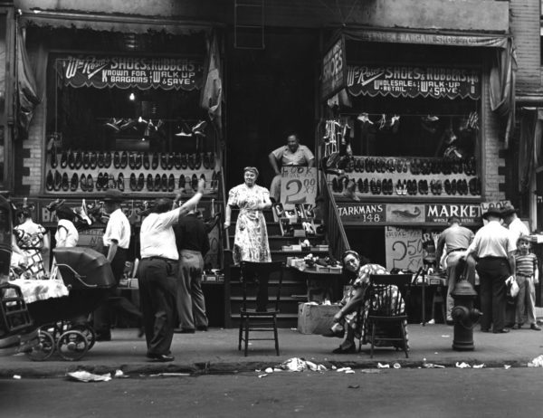 """""""The Greeting at $2.00 Shoes"""" Lower East Side, N.Y.C."""