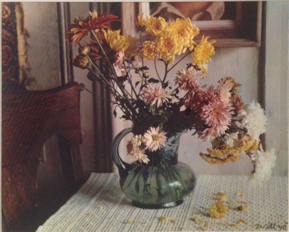 Chrysanthemuns in Green Glass Vase