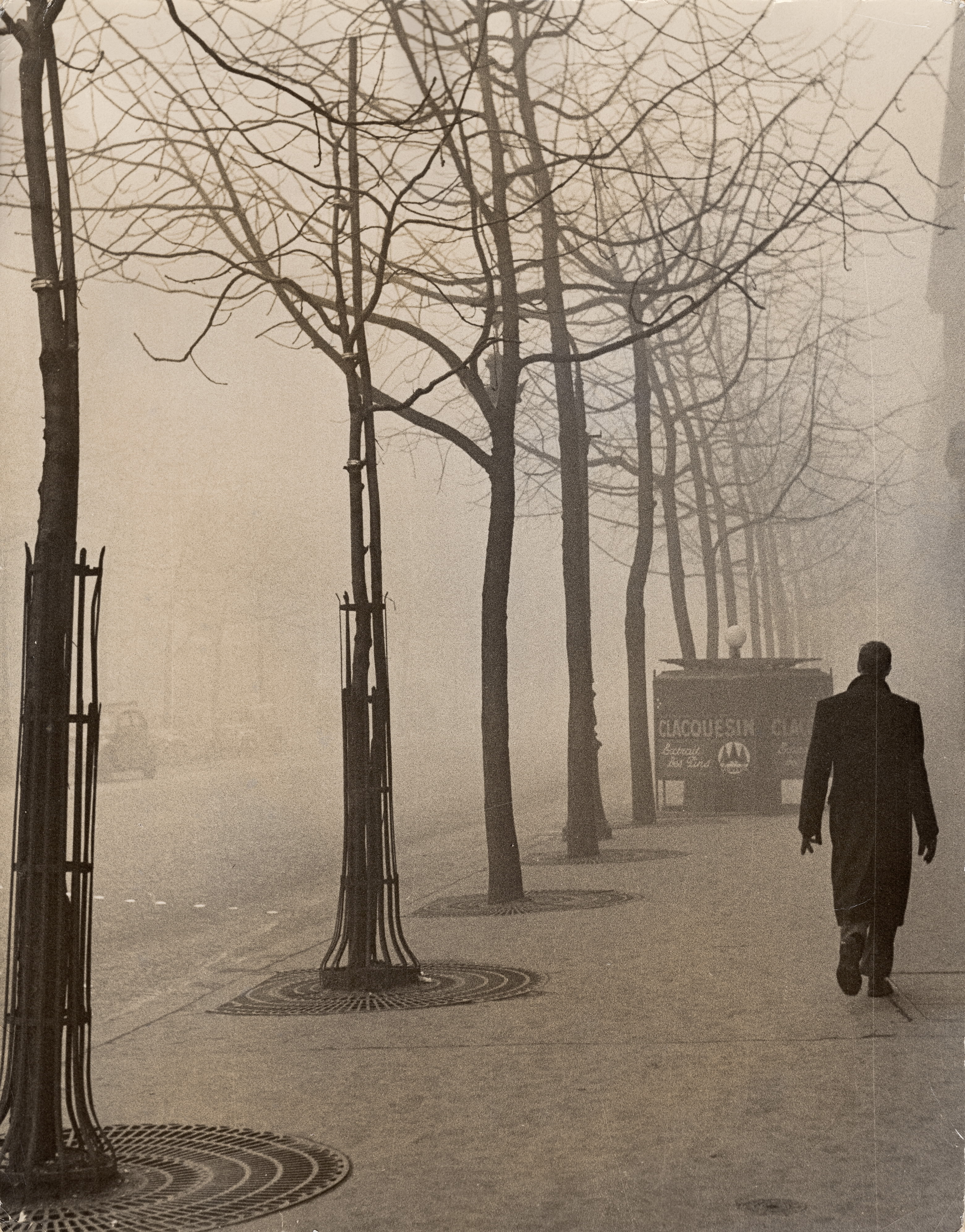 On Avenue du Maine During a Winter Fog in Paris