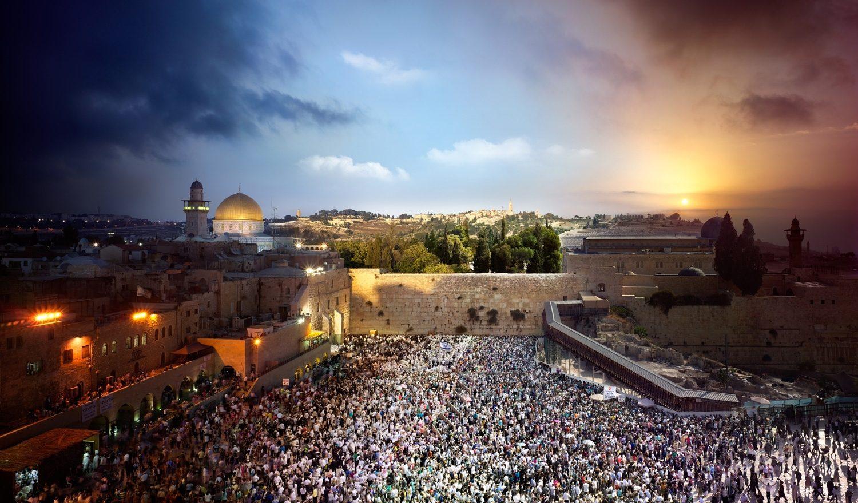 Western Wall, Jerusalem Israel, Day to Night