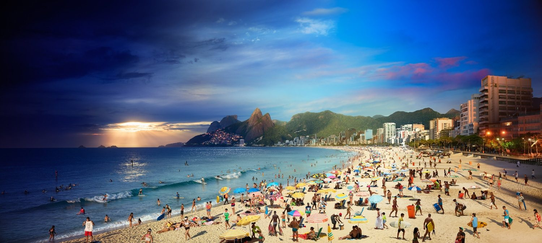 Ipanema Beach, Rio, Brazil, Day to Night