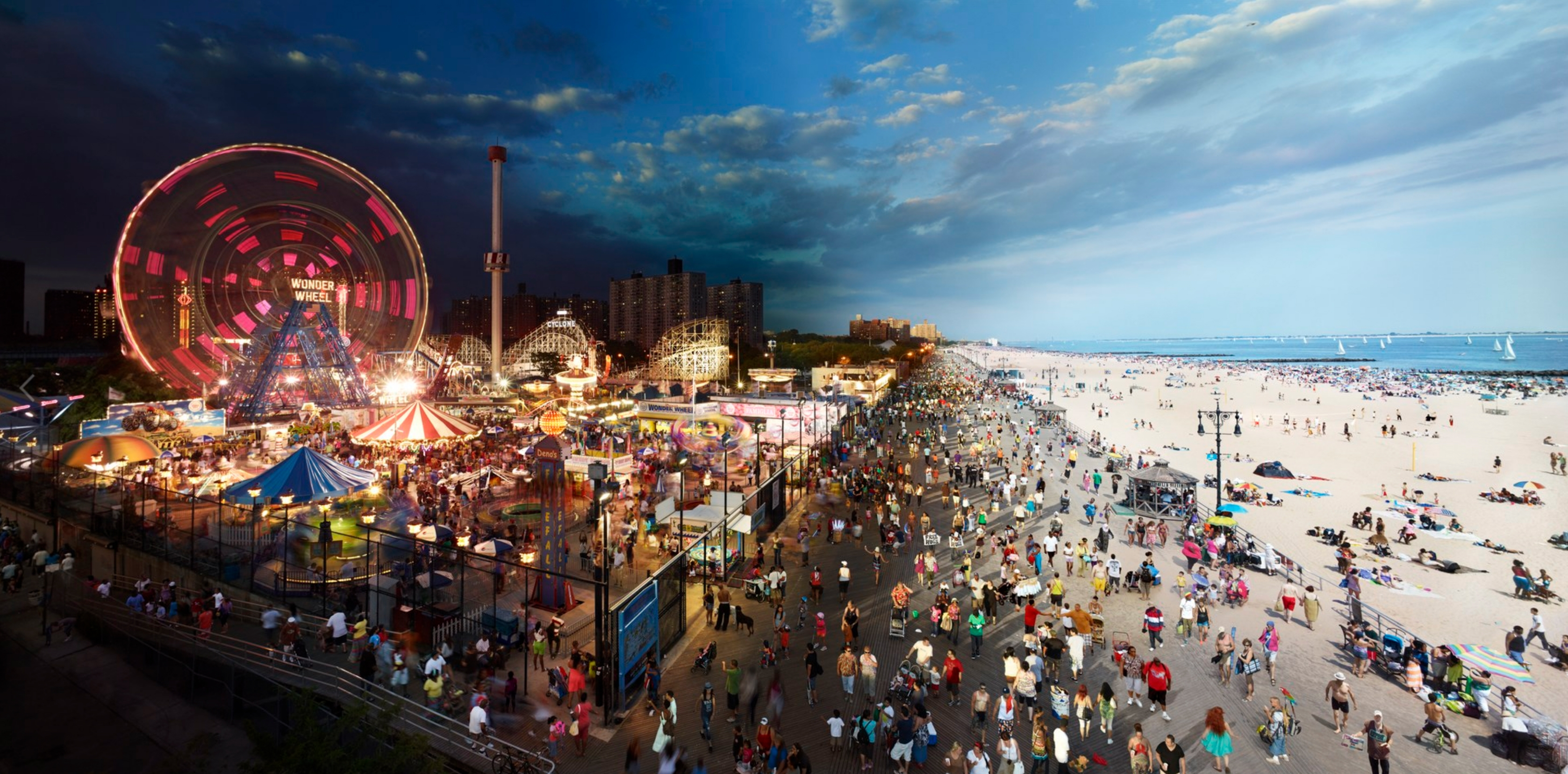 Coney Island Boardwalk, Brooklyn, Day to Night