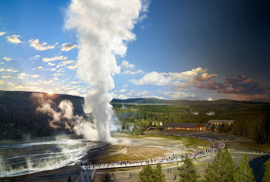 Old Faithful, Yellowstone National Park, Wyoming, Day to Night