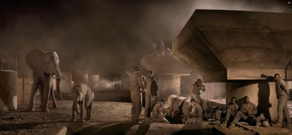 Bridge Construction with Elephants & Workers at Night