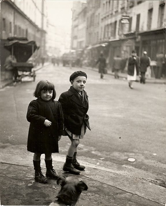 Paris: the Rue Mouffetard. Two little fellows with dog from the Rue Mouffetard