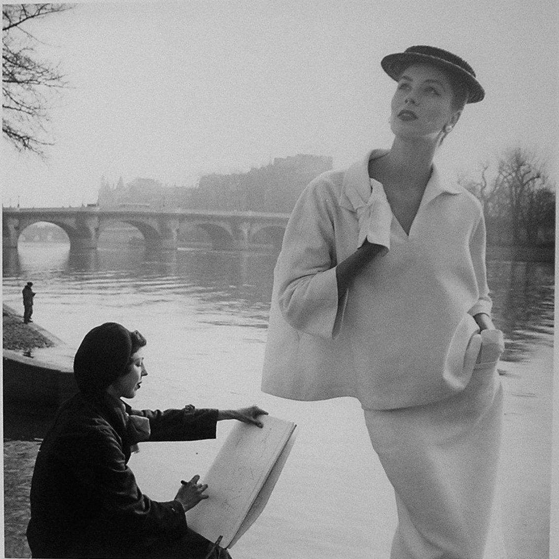 Suzy Parker in Balenciaga Along Seine