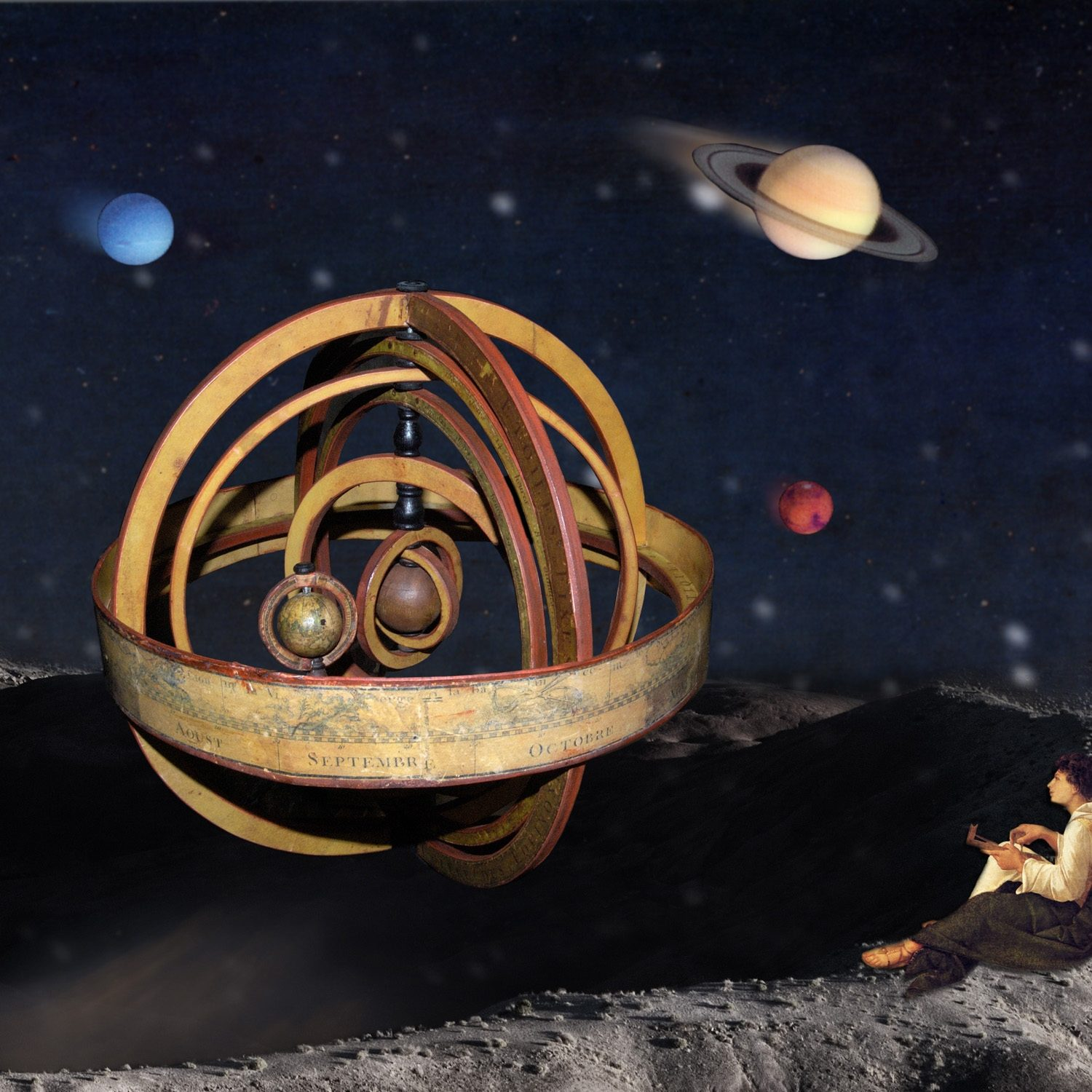 The armillary emerges quietly from the depths of the universe