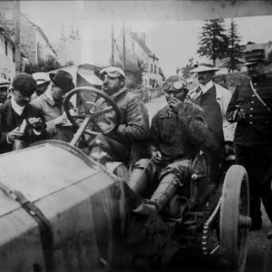 Gordon Bennett Cup. The Auvergne Races- Duray at the wheel of the Lorraine Dietrich carrying #13 finished number six. July,1905