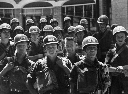 A group of U.N. troops in the Belgian Congo