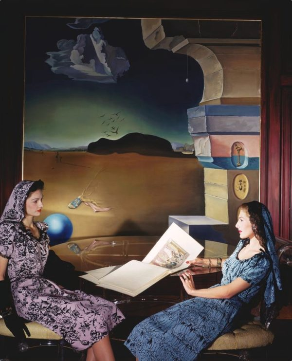 Fashion for Vogue with Dali Mural in Helena Rubinstein's apartment, NYC
