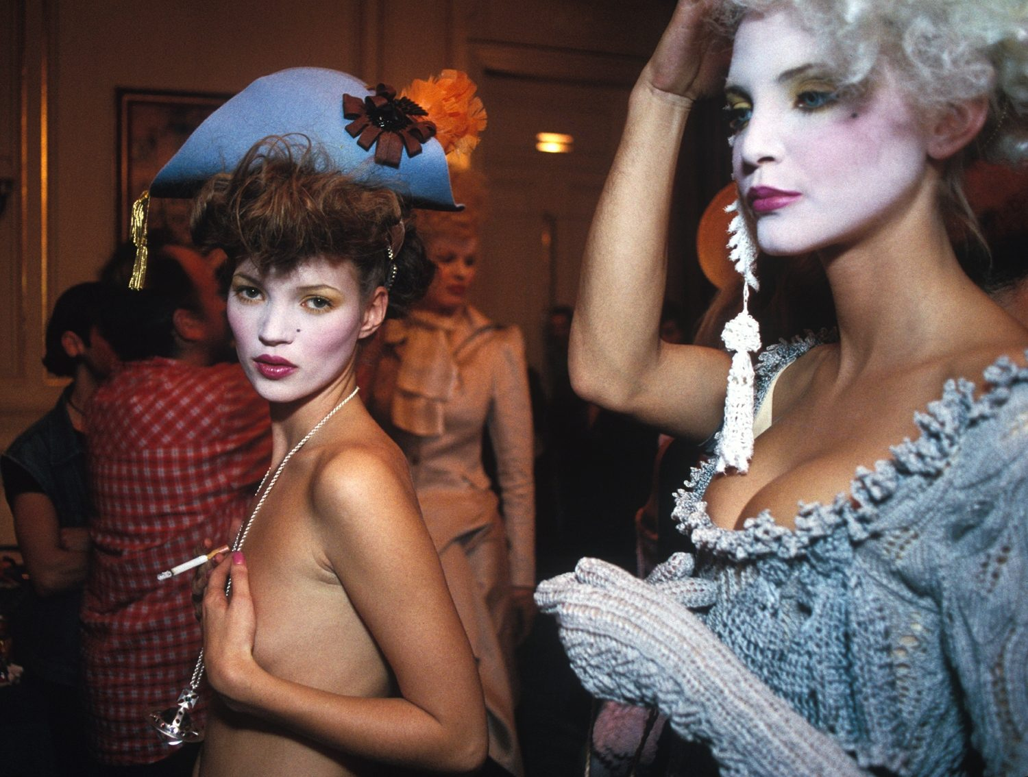 Kate Moss and Nadja Auderman Backstage, Paris