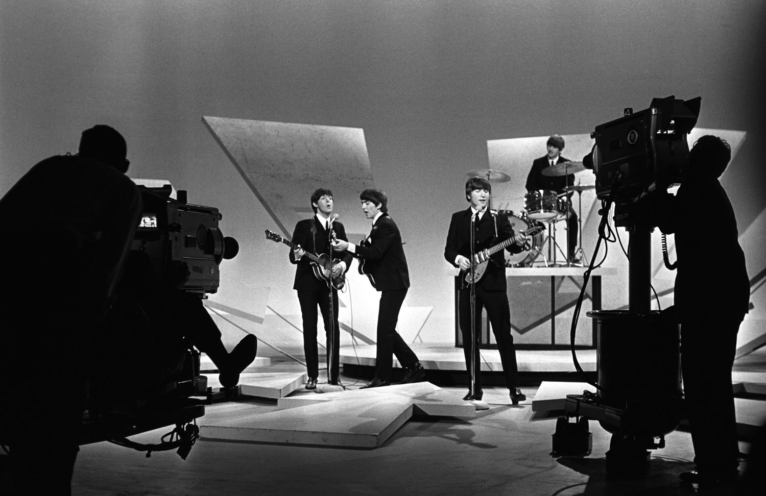 Beatles on Ed Sullivan, (cameras showing) NYC