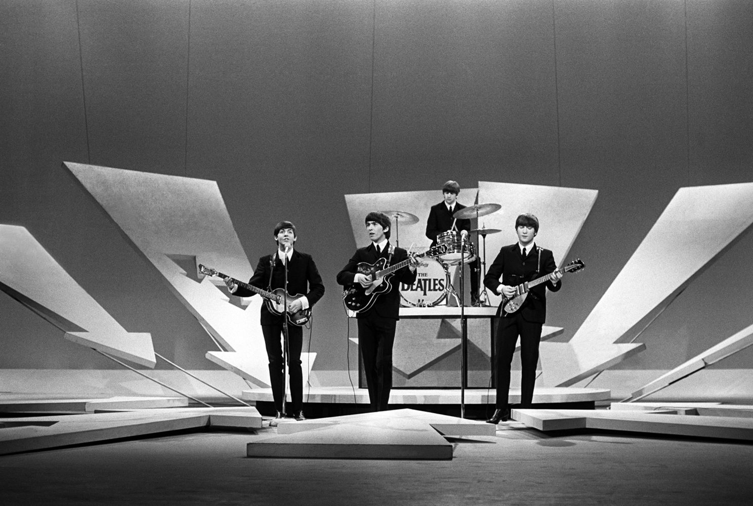 Beatles on Ed Sullivan, (no cameras showing) NYC