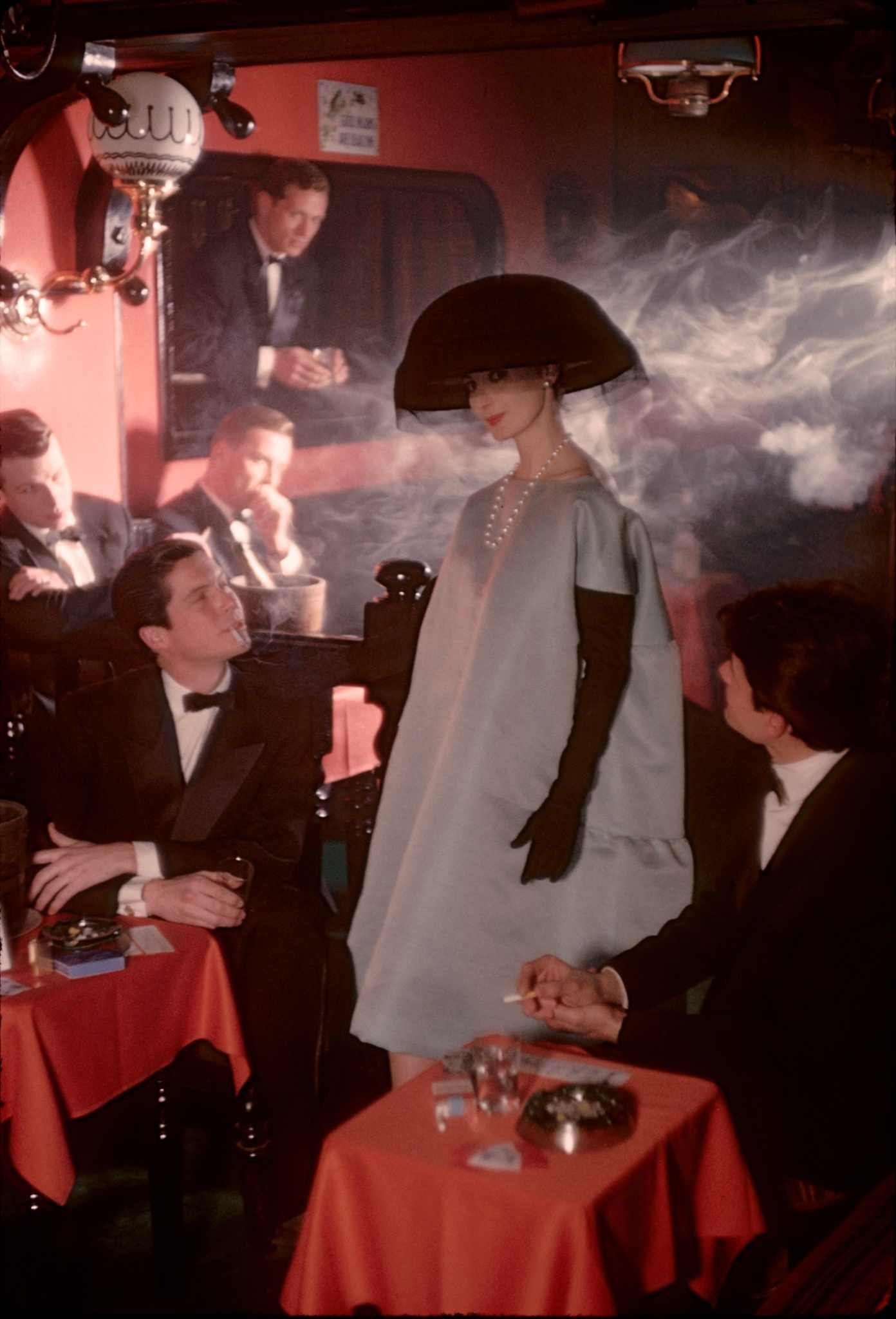 Paris, for Jardin des Modes, Givenchy dress at Crazy Horse Saloon