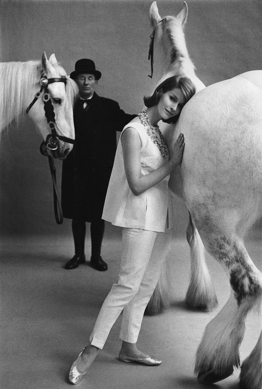 British Vogue, model with horses in studio
