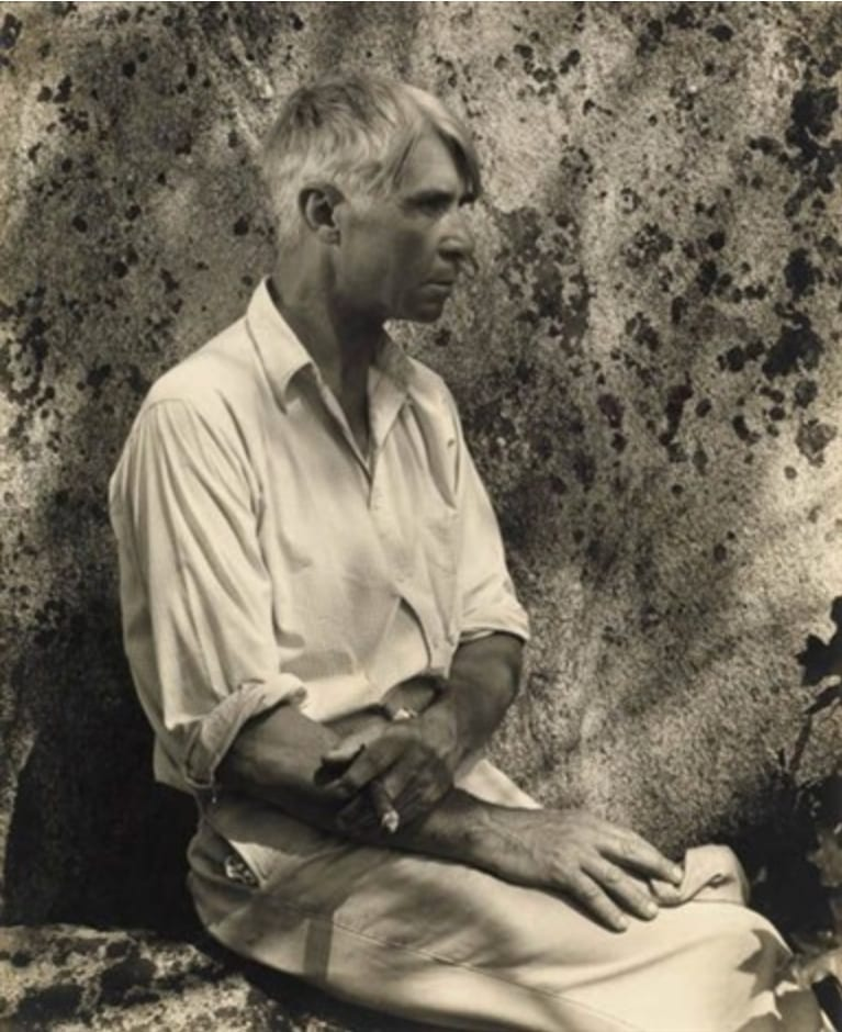 Carl Sandburg Posing with a Cigar
