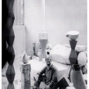 Brancusi in his studio, Paris