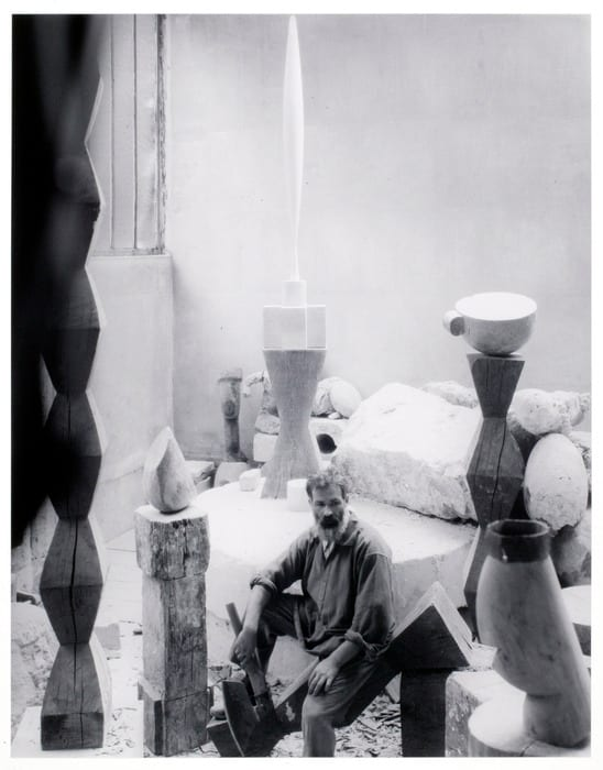 Brancusi in his studio, Paris
